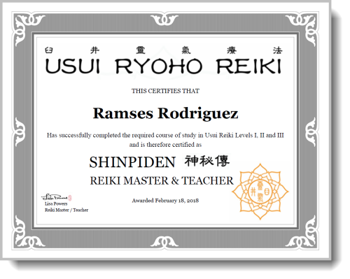 My Reiki Certification